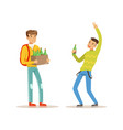 boy came to party with box of alcoholic drinks vector image