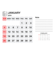 Calendar January 2015 vector image vector image
