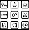 car wash black icon set vector image vector image