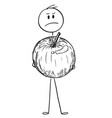 cartoon of angry man holding big apple fruit vector image vector image
