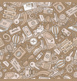 cartoon traveling seamless pattern with lots vector image