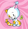 cat with butterflies vector image vector image