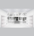 city street open doors store interior 3d shop vector image vector image