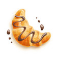 croissant with chocolate vector image vector image