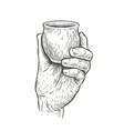 cup in hand sketch drink drawn vintage vector image vector image