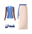 denim jacket long skirt with belt and flipflops vector image vector image
