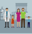 father and mother with two kids visit doctor s vector image vector image