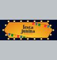 festa junina lights decoration celebration banner vector image vector image