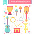 flat musical instruments isolated on white vector image vector image