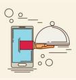 food creative concept restaurant cloche in hand vector image vector image