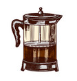french press for making coffee in vintage style vector image vector image