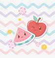 fresh apple and watermelon fruits kawaii vector image vector image