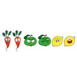 funny fruits vegetables - apple lemon and carrot vector image