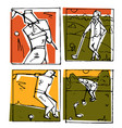 golf club icons posters set vector image vector image