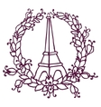 Hand drawing Eiffel Tower and Floral wreath Pray vector image