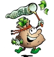 Hand-drawn of an Money Sack Hunting Cash vector image