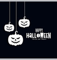 happy halloween banner with scary hanging pumpkins vector image