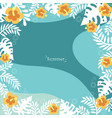 hibiscus flower with white tropical leaves frame vector image