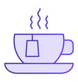hot tea flat icon cup with tea bag violet icons vector image vector image