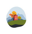 house with a mountain landscape vector image vector image