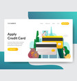 landing page template apply credit card vector image vector image