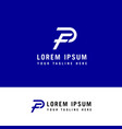 letter fp pf logo f and p monogram line style vector image vector image