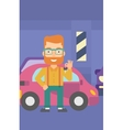 Man holding keys from new car vector image