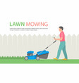 man mowing lawn vector image