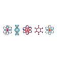 molecule and atom icon set cartoon style vector image