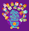 new year gift boxes shopping cart big sale text vector image