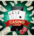 online casino poster modern mobile smart vector image