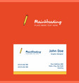 pencil logo design with business card template vector image