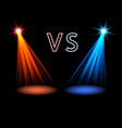 red and blue volume light on black versus battle vector image
