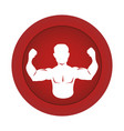 red circular border silhouette half body muscle vector image