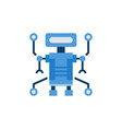 robot blue flat icon on white background vector image vector image