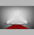 round stage podium with red carpet and spotlights vector image