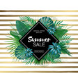sale rhombus summer sale tropical leaves frame on vector image vector image