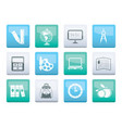 school and education icons over color background vector image
