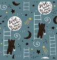seamless childish pattern with bears stars and vector image vector image