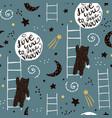 seamless childish pattern with bears stars