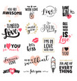 set valentine day stickers and elements vector image vector image