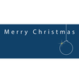 simple blue Christmas card - white text and ball vector image vector image