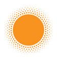 sun icon halftone orange circle vector image vector image