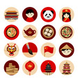 travel to china collection of icons with cultural vector image vector image