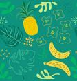 tropical flowers leaves pattern pineapples summer vector image vector image