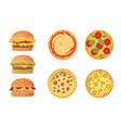 various fast food cartoon vector image vector image