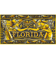 Vintage Florida Label Plaque Black and Gold vector image vector image
