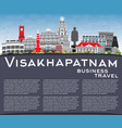 visakhapatnam skyline with gray buildings blue vector image vector image
