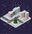 winter christmas urban quarter modules vector image vector image