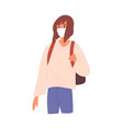woman with backpack wearing face mask flat vector image